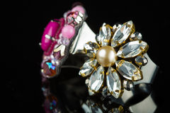 Diamond Ring in black background Stock Photos