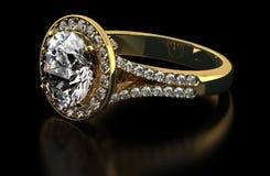 Diamond ring on black Stock Photos