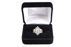 Diamond ring in black velvet box Royalty Free Stock Photography