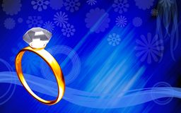 Diamond ring in blue background Royalty Free Stock Photography
