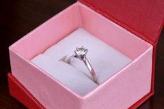 Diamond ring in box Stock Photo