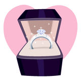 Diamond Ring in a Box Stock Afbeelding