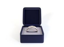 Diamond Ring In Box. A 3D render of a wedding ring in it's box Royalty Free Stock Photos