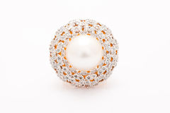 Diamond ring or brooch top view  Royalty Free Stock Photos