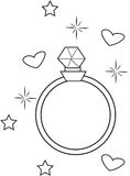 Diamond Ring Coloring Page Royalty Free Stock Image