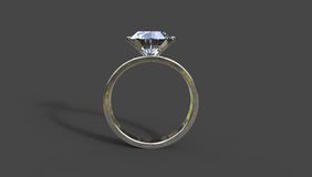 Diamond ring 3D illustration. On a black background with a shadow Royalty Free Stock Image