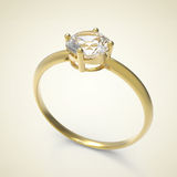 Diamond Ring. 3D illustration. Diamond Ring on a light background. 3d digitally rendered illustration Stock Image