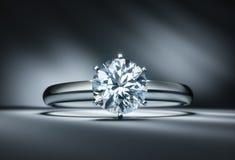 Diamond ring on a dark background stock illustration
