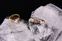 Diamond ring and ear rings Stock Images