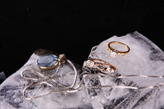 Diamond ring and ear rings Royalty Free Stock Photo