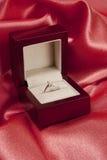 Diamond ring in elegant box Stock Photos