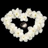 Diamond Ring en el corazón hecho de Jasmine Flowers blanco en fondo negro Imagen de archivo