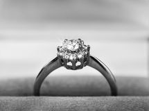 Diamond ring in gift box Royalty Free Stock Photography