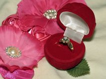 Diamond ring in gift box Stock Image