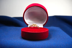 Diamond ring with gold in box Royalty Free Stock Photo