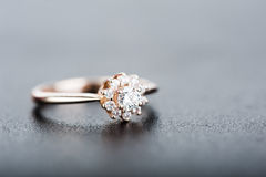 Diamond ring on gray background Stock Images