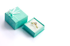 Diamond ring in green gift box Royalty Free Stock Photo