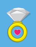 Diamond Ring Heart illustration stock