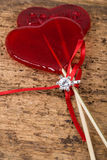 Diamond ring and heart shaped candies for valentine Royalty Free Stock Images