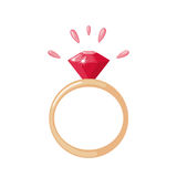 Diamond Ring icon in flat style. Royalty Free Stock Photos