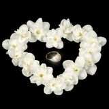 Diamond Ring nel cuore fatto di Jasmine Flowers bianco su fondo nero Immagine Stock