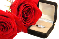 Diamond Ring Next to Two Red Roses. An engagement ring with red roses next to it,  against a white background Stock Photography