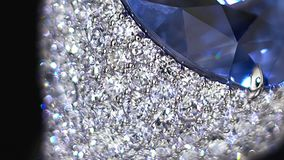 Diamond ring, not 3D, it`s video shooting only. Extreme close up. Big blue gemstone. stock video footage