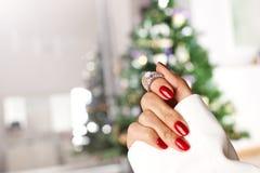 Free Diamond Ring On A Finger Stock Photo - 80123560