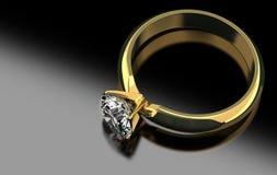 Diamond Ring på svart royaltyfri illustrationer