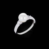 Diamond ring with pearl Stock Photo