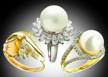 Diamond ring and pearl ring Royalty Free Stock Photo