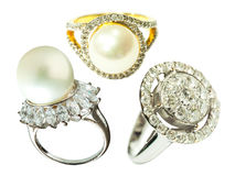 Diamond ring and pearl rings Stock Images
