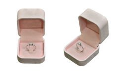 Diamond ring in pink box Stock Photography