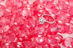 Diamond ring and the pink crystal Stock Image