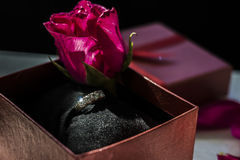 Diamond ring present Stock Photography