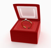 Diamond ring in a red box Royalty Free Stock Photo