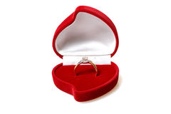 Diamond ring in red box. Isolated on white Stock Photo