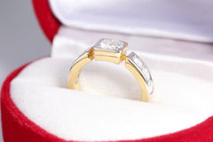 Diamond ring in Red Box Royalty Free Stock Image