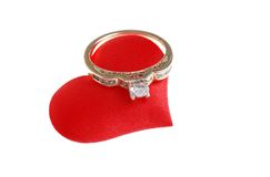 Diamond Ring On Red Fabric Heart Royalty Free Stock Photo