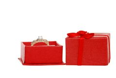 Diamond ring in a red jewelry box Stock Photos