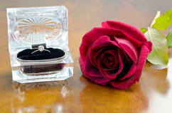 Diamond ring and red rose Royalty Free Stock Photo