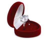 Diamond ring in red velvet box. On white background Stock Image