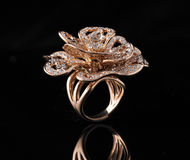 Diamond ring with reflection Royalty Free Stock Images
