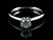 Diamond ring with reflection Stock Image