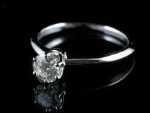 Diamond ring with reflection Stock Photos