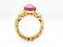 Diamond ring with ruby Royalty Free Stock Photography