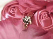 Diamond ring in satin roses Stock Image