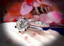 Diamond ring and seashell. Two Carat diamond engagement ring Stock Image