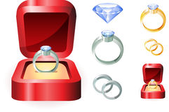 Diamond Ring Set Photographie stock