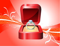Diamond Ring sur le fond rouge Image libre de droits